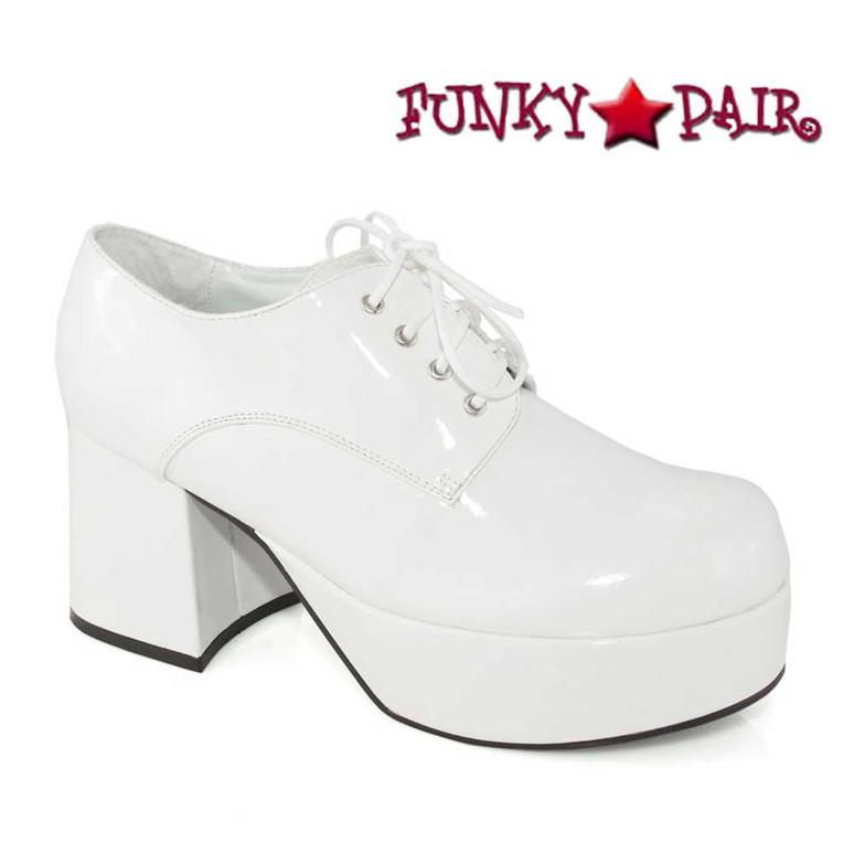 Men's 312-PIMP  White 3 Inch Disco Platform Shoes