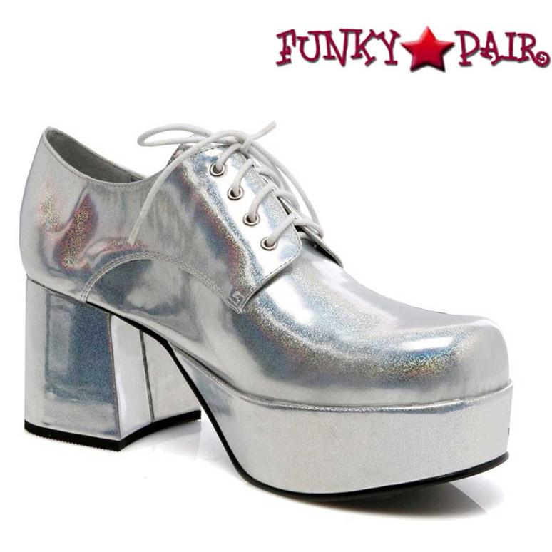 Men's 312-PIMP Silver 3 Inch Disco Platform Shoes