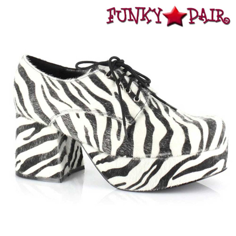 Men's 312-PIMP Zebra 3 Inch Disco Platform Shoes