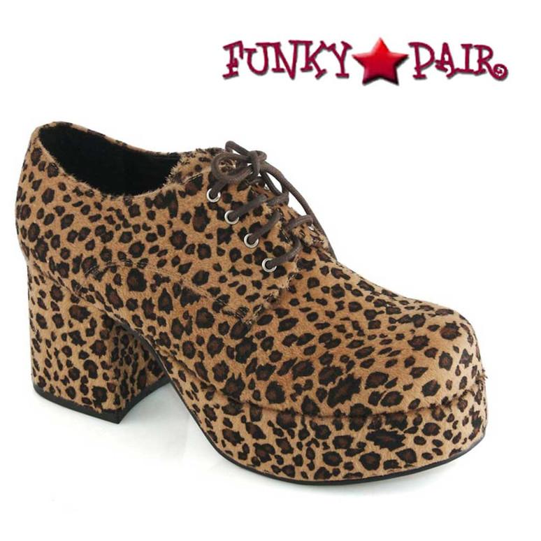 Men's 312-PIMP  Leopard 3 Inch Disco Platform Shoes