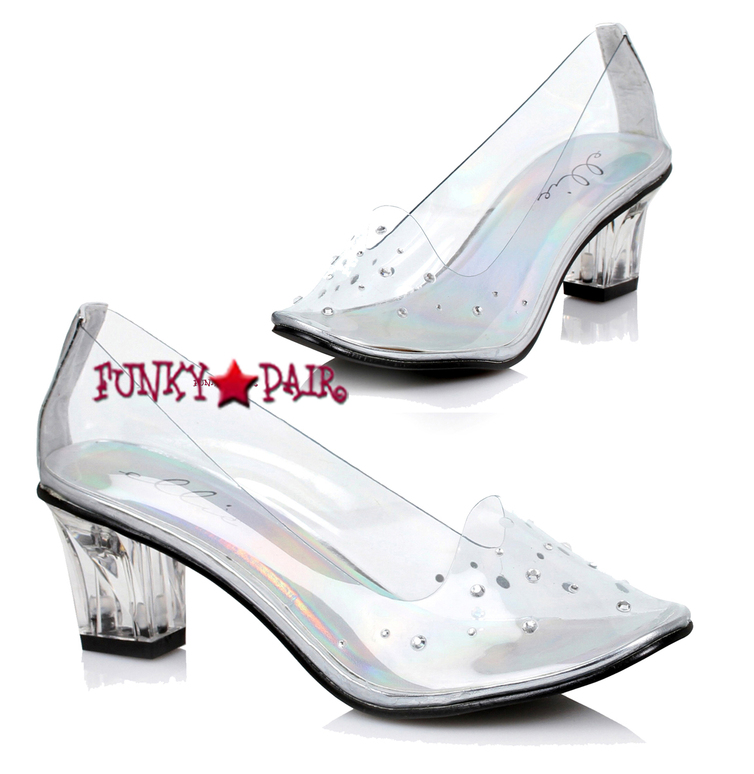 1031 Costume Shoes | 213-Anastasia, 2 Inch Clear Slipper