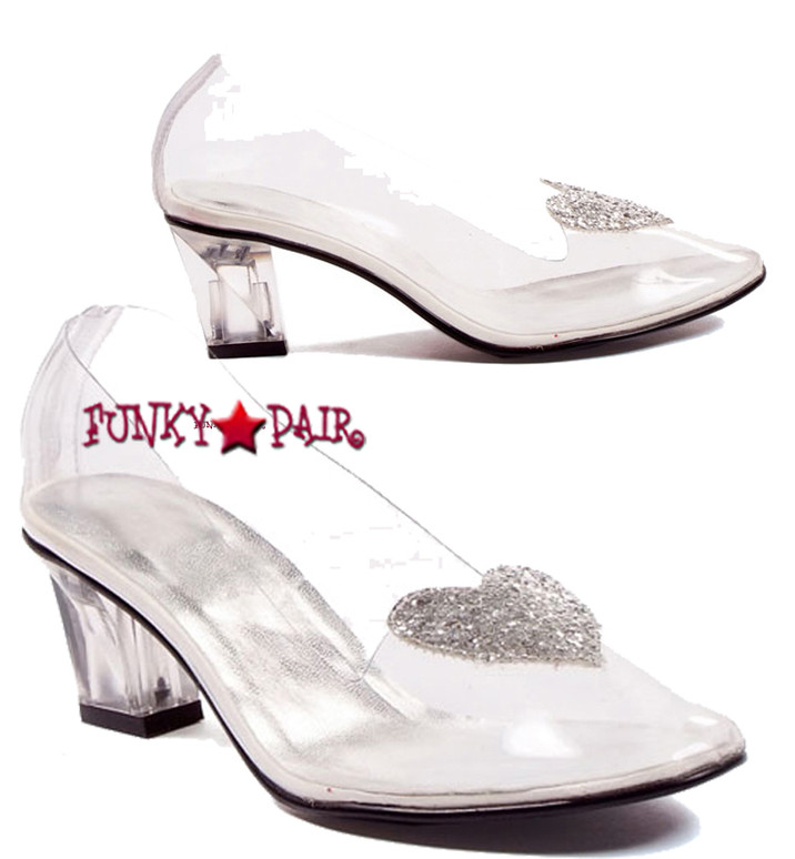 Women's 212-Ariel, 2 inch clear slipper with heart   1031 Cosplay Shoes