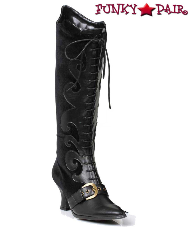 253-Fain, Black Velvet Knee High Boots | 1031 Costume Boots