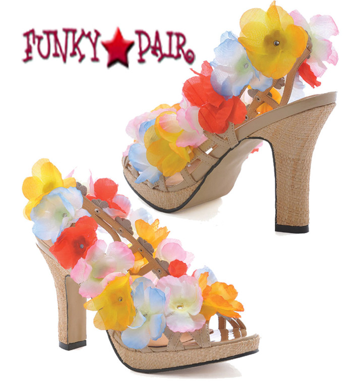 402-Luau, 4 inch flower sandal | 1031 Costume Shoes