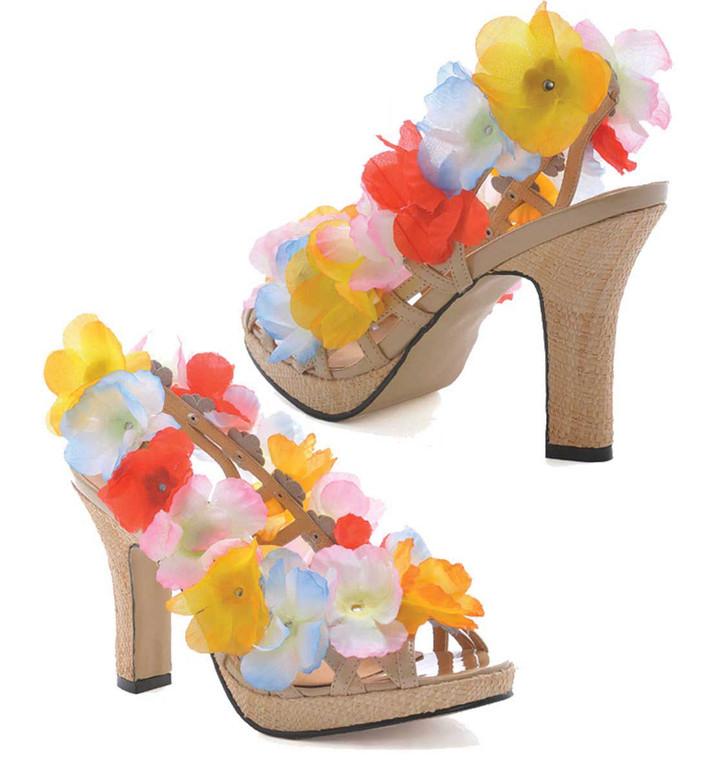 "1031 Costume Shoes | 402-Luau, Hawaii 4"" Heel Flower sandal"