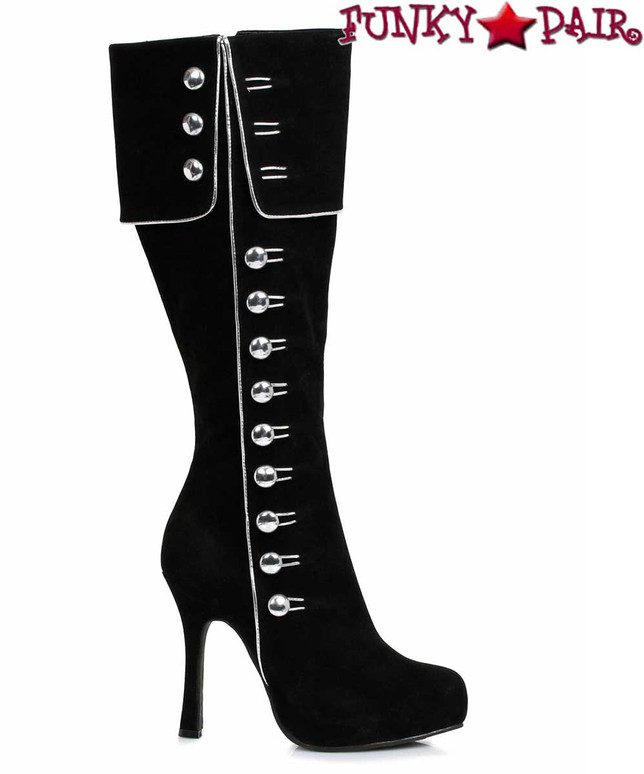 Ellie Shoes | 420-Elda Black Knee High Boots with Silver Side Buttons