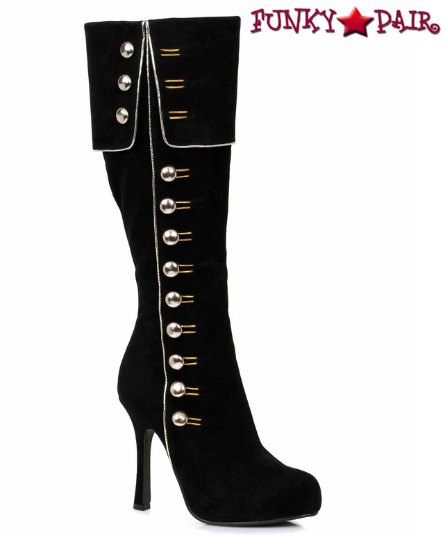 "420-Elda, 4""  Black Knee High Boots with Gold Buttons Costume Boots"