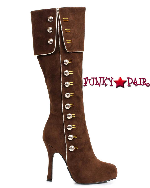 420-Elda Brown Knee High Boots with Side Buttons | Ellie Shoes
