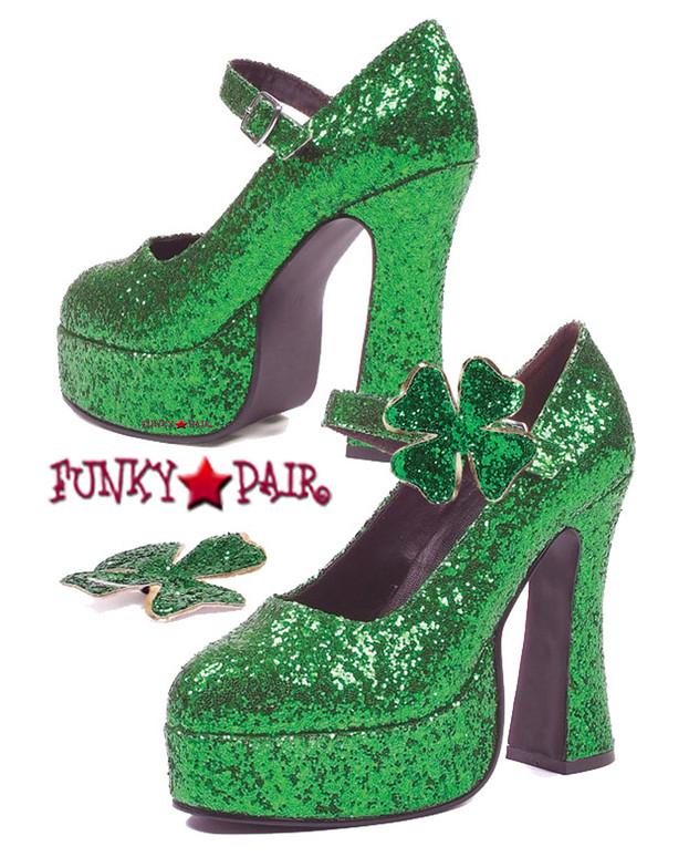 557-Lucky, 5 Inch Cosplay Green Chunky Heel Glitter Maryjane,