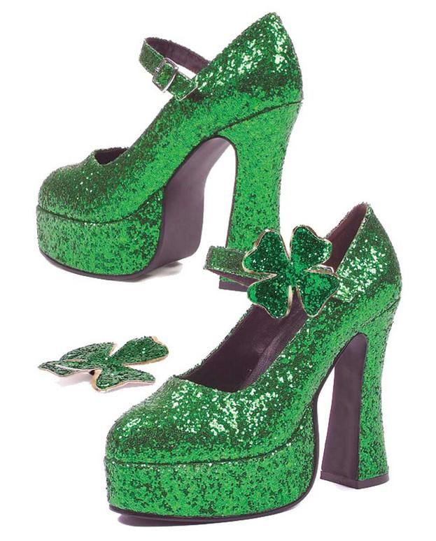"Saint Patrick's 557-Lucky, 5"" Cosplay Green Glitter Maryjane"