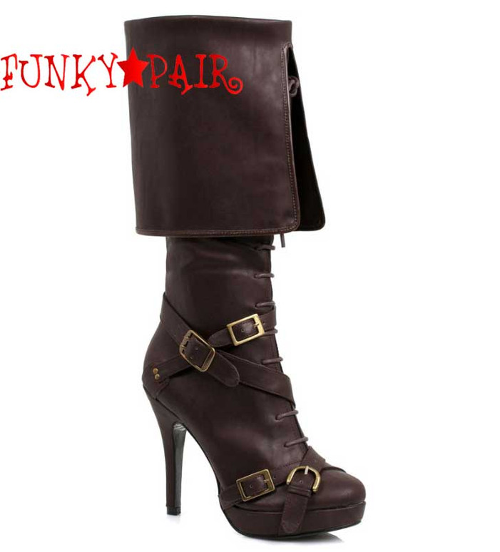 Women's Brown Pirate Boots With Buckles | Ellie 414-Keira,