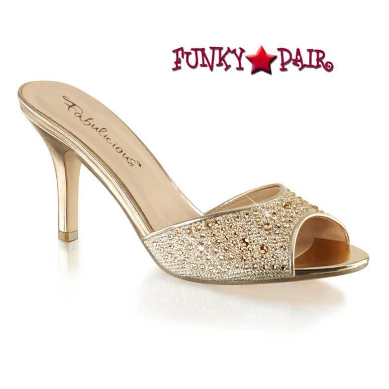"""Nude Fabulicious   Lucy-01, 3.25"""" Kitten Slide with Rhinestones"""