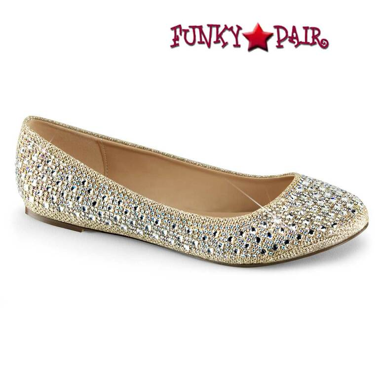 Flat Round Toe Gold Glitter Shoes by Fabulicious Treat-06,