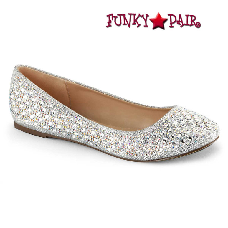 Women's  Flat Round Toe Silver Glitter Shoes by Fabulicious