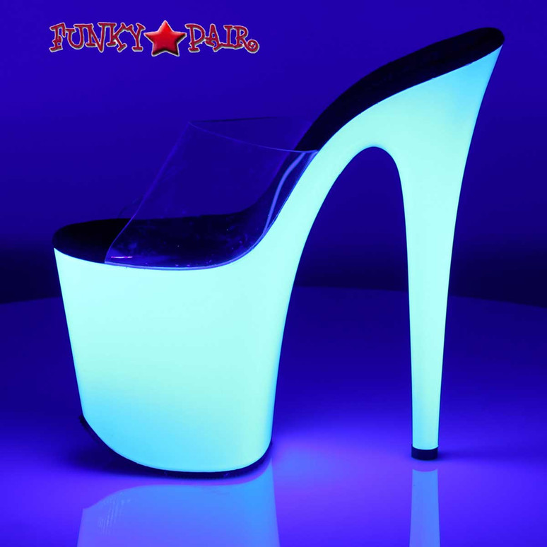 Flamingo-801UV, 8 Inch Exotic Dancer Shoes with Neon UV Bottom   Pleaser Side View