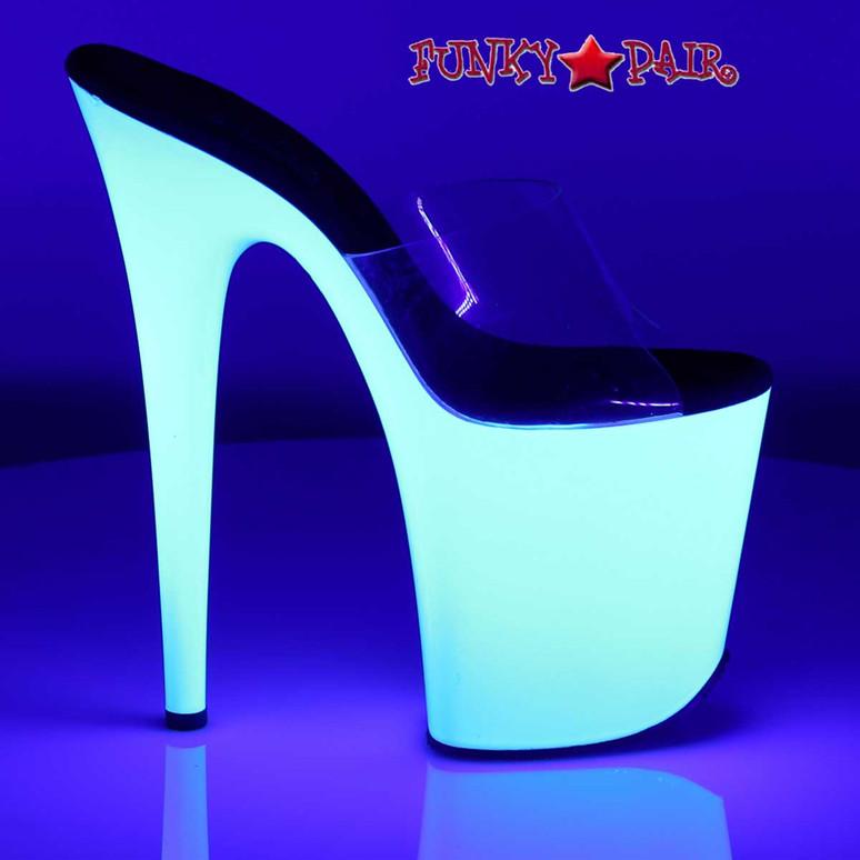 8 Inch Stripper Shoes with Neon UV Bottom   Pleaser Flamingo-801UV
