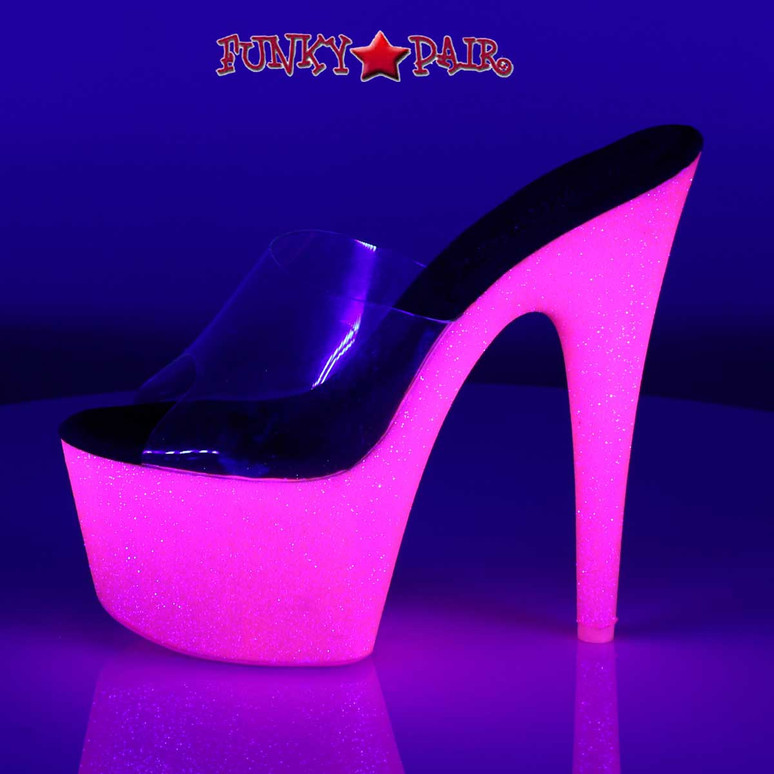 Pleaser | Adore-701UVG, Neon UV Reactive Exotic Dancer Shoes