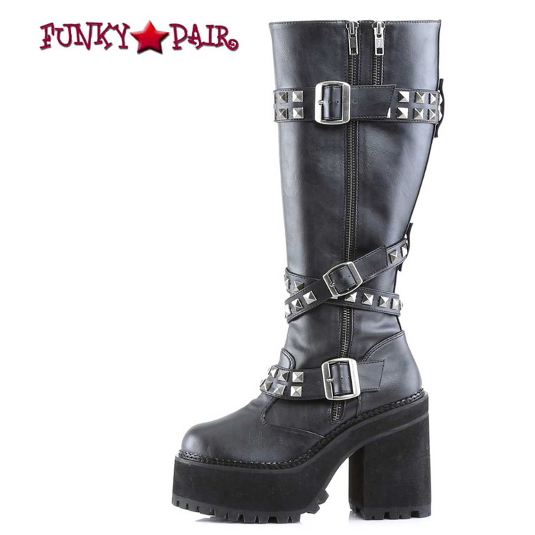 Assault-203, Studded Straps Knee High Boots by Demonia Side View