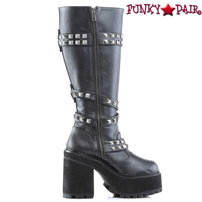 Demonia Assault-203, Inner side view Platform Knee High Boots with Studded Straps