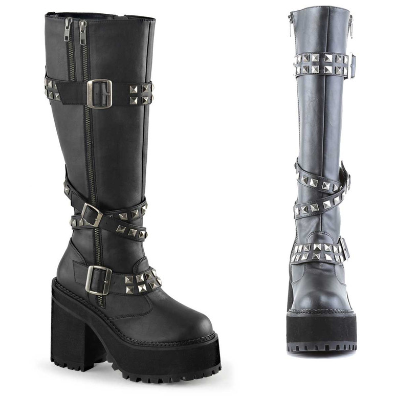 Assault-203, Studded Straps Knee High Boots by Demonia