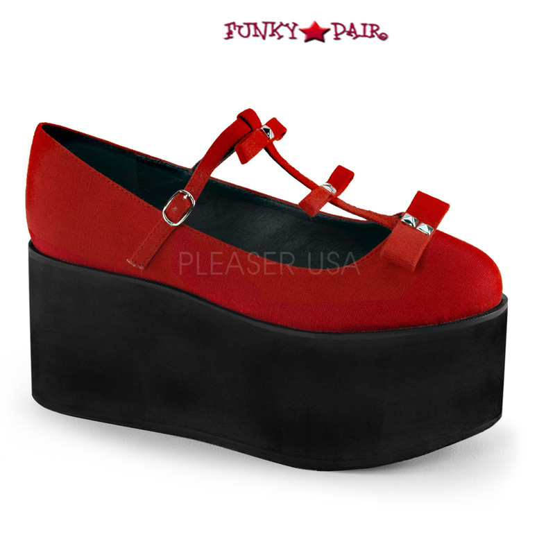 Red Click-08, 3.25 Inch Platform T-strap with Bows Maryjane