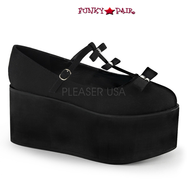 Black Click-08, 3.25 Inch Platform T-strap with Bows Maryjane