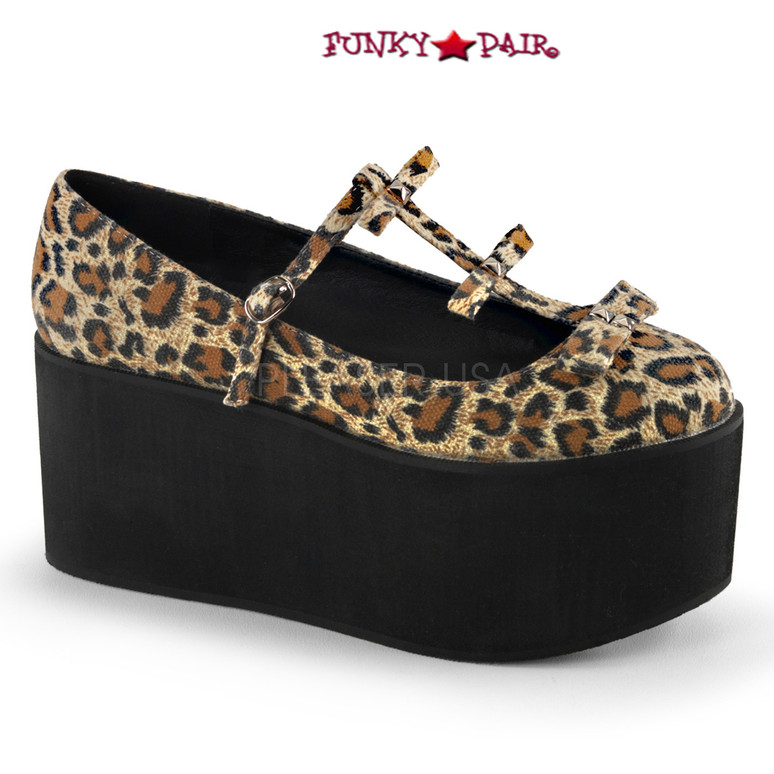 Leopard Click-08, 3.25 Inch Platform T-strap with Bows Maryjane