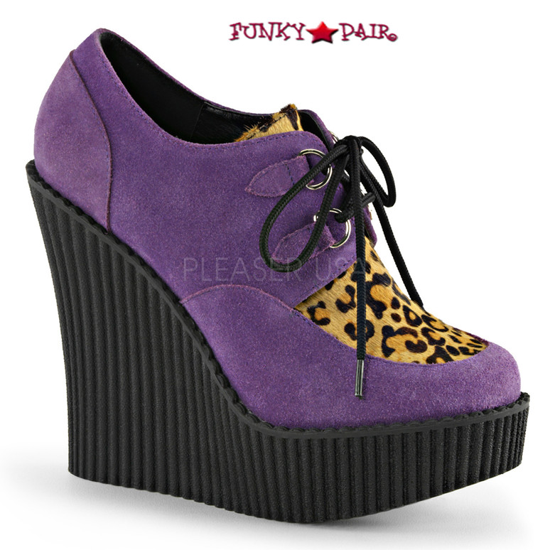 Creeper-304, 5.25 Inch Wedge Creeper with Leopard Print Color Purple Vegan Suede-Leopard Printed Pony Hair