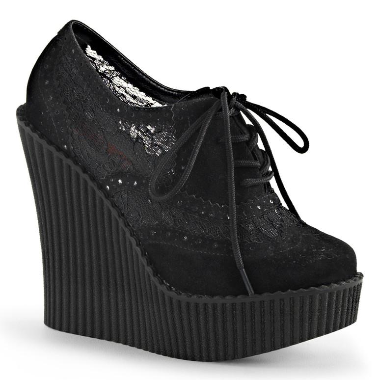 Creeper-307, 5.25 Inch Wedge Platform Brogue Creeper Demonia Shoes