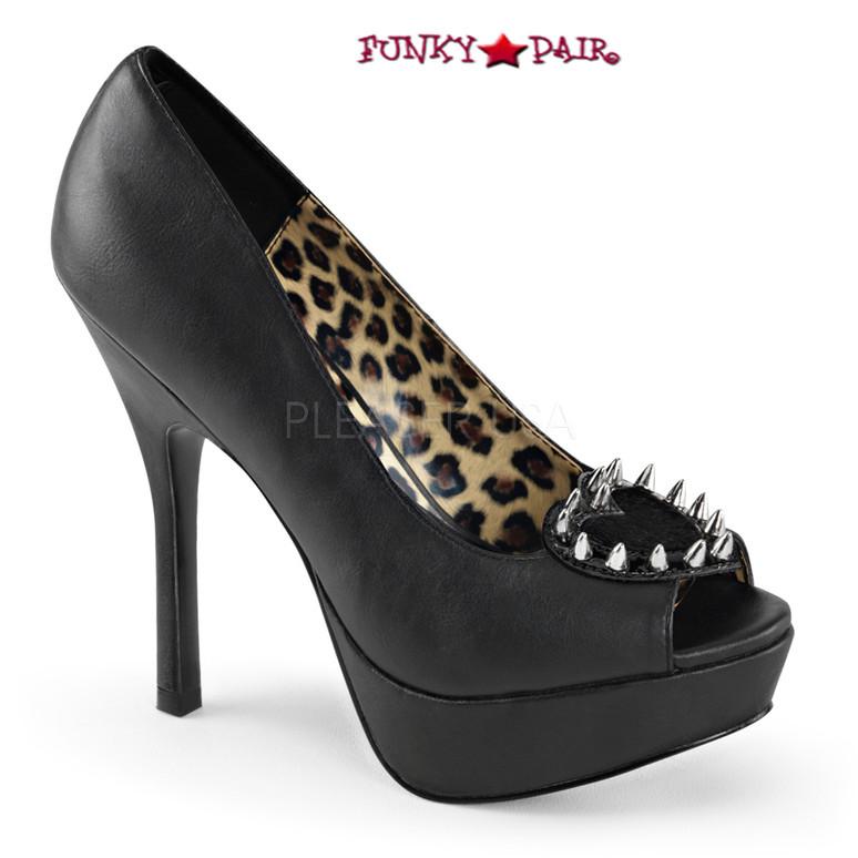 Black vegan leather | Pixie-17, Studs Peep Toe Pump