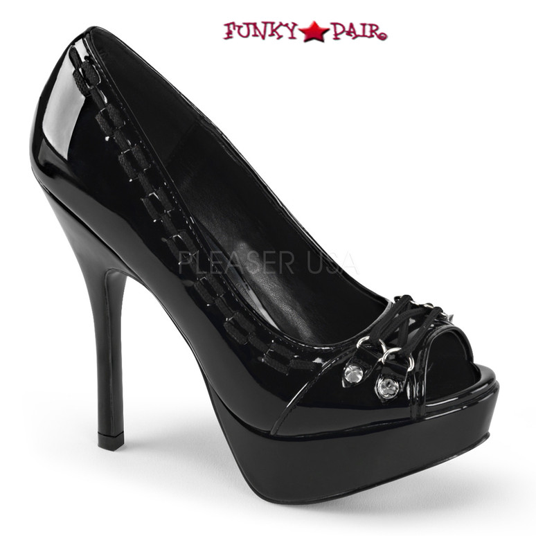 Black Pixie-18, 5.25 Inch peep toe pump with Lace and Spike