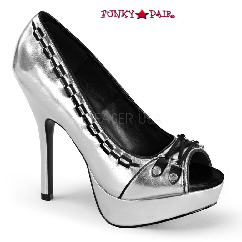Silver Pixie-18, 5.25 Inch peep toe pump with Lace and Spike