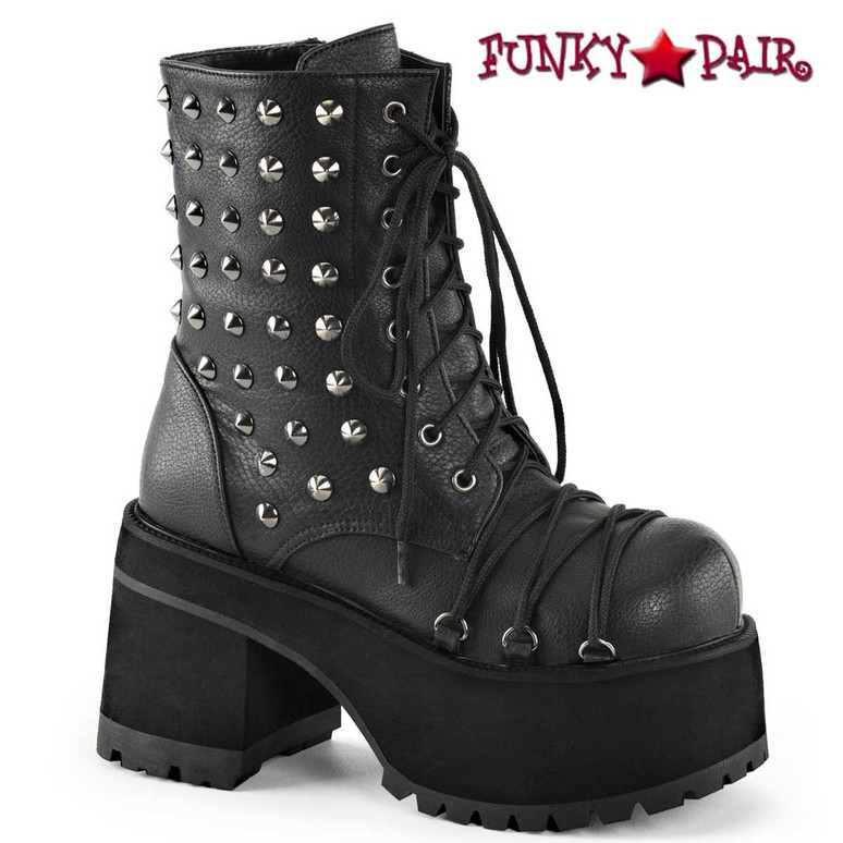 Demonia | Ranger-208, Chunky Heel Punk Spikes Ankle Boots