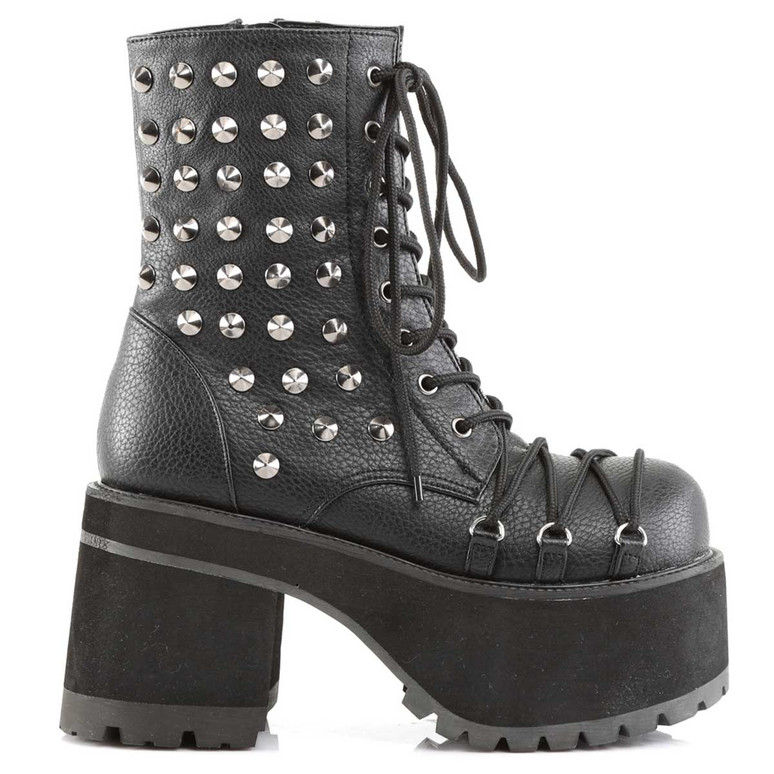 Ranger-208, Chunky Heel Punk Spikes Ankle Boots by Demonia