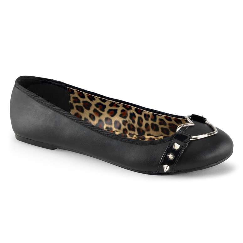 Star-21, Round Toe Flat with Studded Straps and Heart