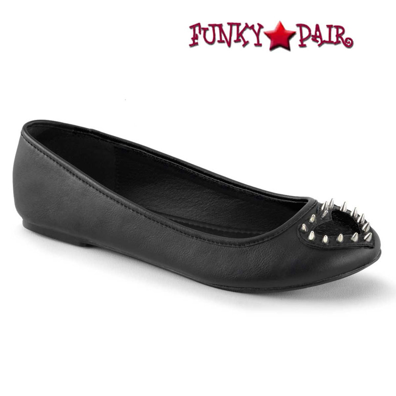 Black Vegan Leather Star-24, Round Toe Flat with Heart Demonia