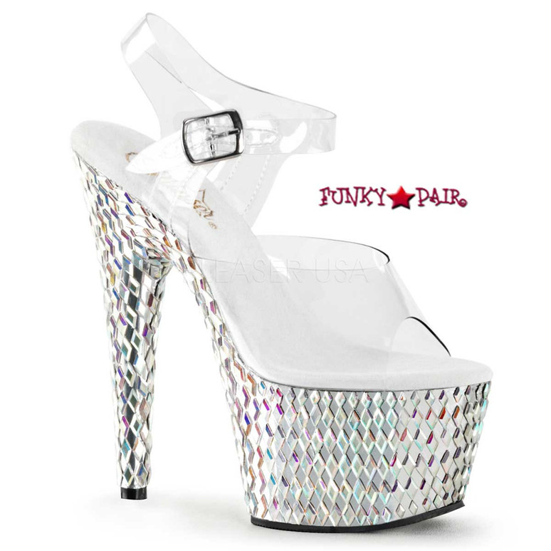 Stripper Shoes Bejeweled-708DS, 7 inch Sandal with Diamond Cut Shapes