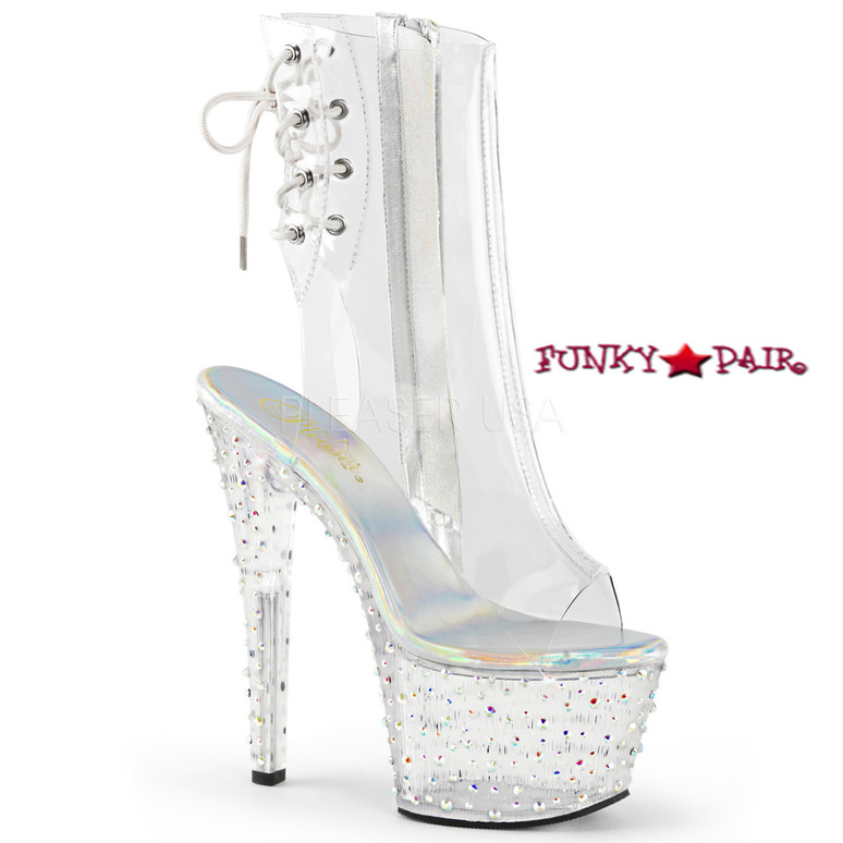 Stardance-1018C-7, 7 Inch Open Toe and Back Clear Ankle Boots with Rhinestones Platform @Funkypair
