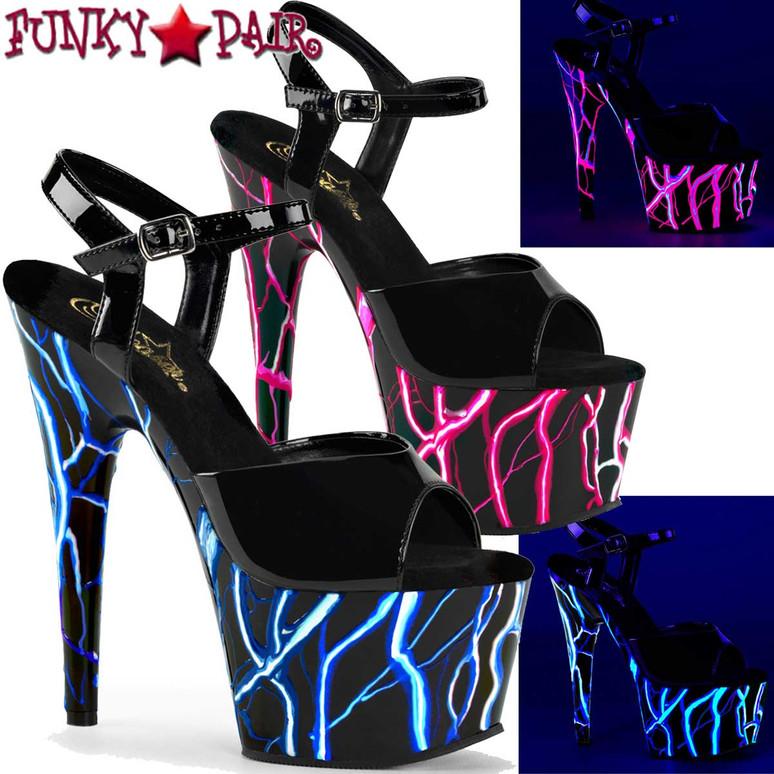 Adore-709NLB by Pleaser Backlight UV Reactive Lightning Design Platform Sandal