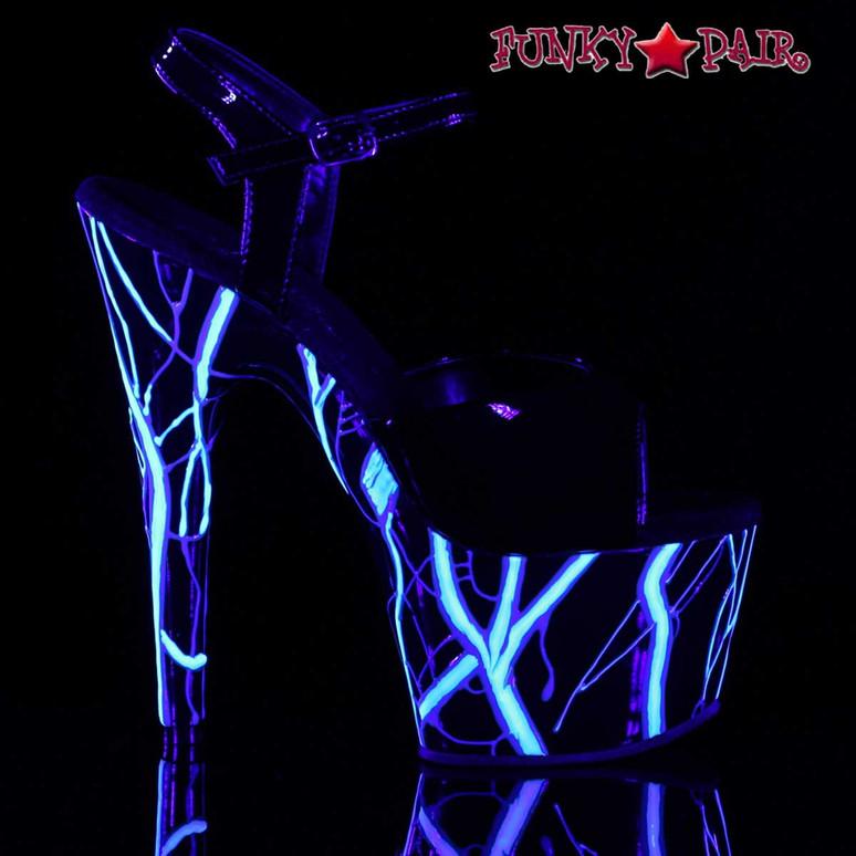Pleaser Stripper Shoes Adore-709NLB UV Reactive Lightning