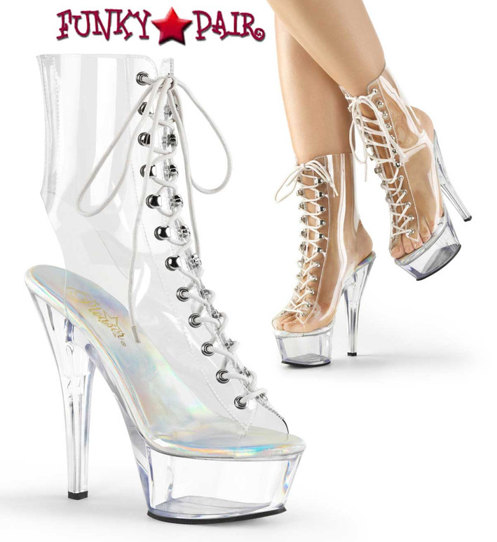 Pleaser   Kiss-1016C, 6 Inch Clear Peep Toe Lace Up Ankle Boots