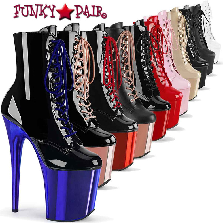 """Pleaser Flamingo-1020, 8"""" Stripper Ankle Boots"""