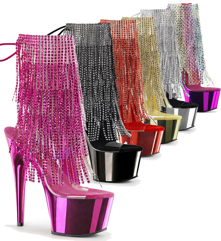 Adore-1017RSF, 7 Inch High Heel Open Toe with Colorful Fringe Boots