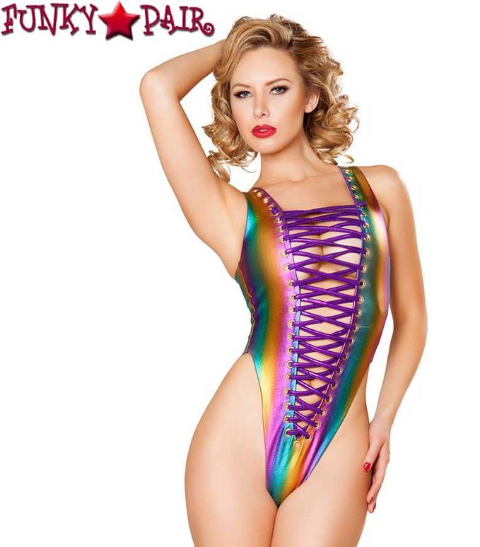 J. Valentine | FF412 Rave Foiled Bodysuit Color Rainbow Denim