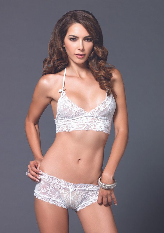 LA81504 Lace halter bra and G-string booty short color white