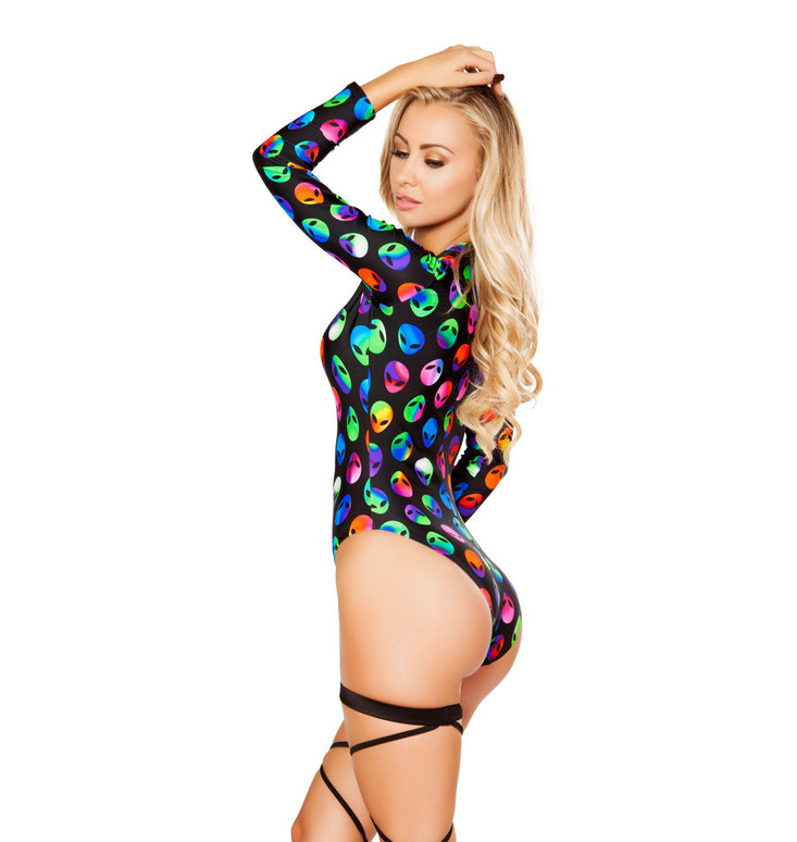 Rave Lace- Up Long Sleeve Romper | Roma R3269 Color Alien back view