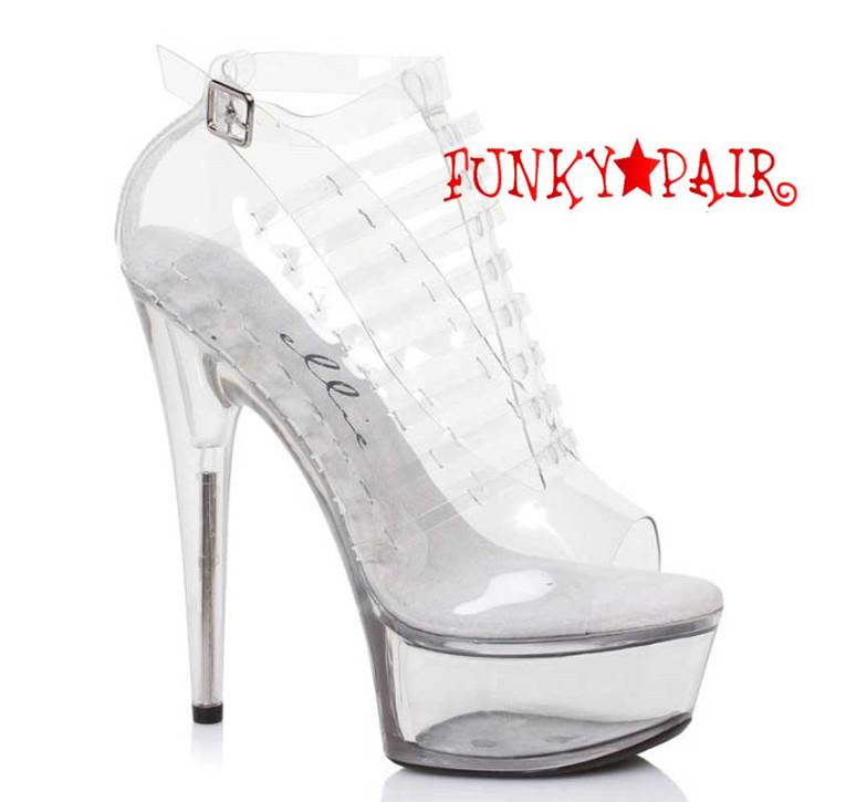 """Clear 609-Amber 6"""" Heel Peep Toe Sandal"""