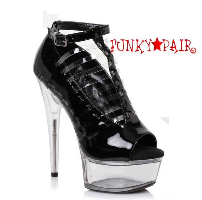 """Black 609-Amber 6"""" Heel Peep Toe Sandal"""