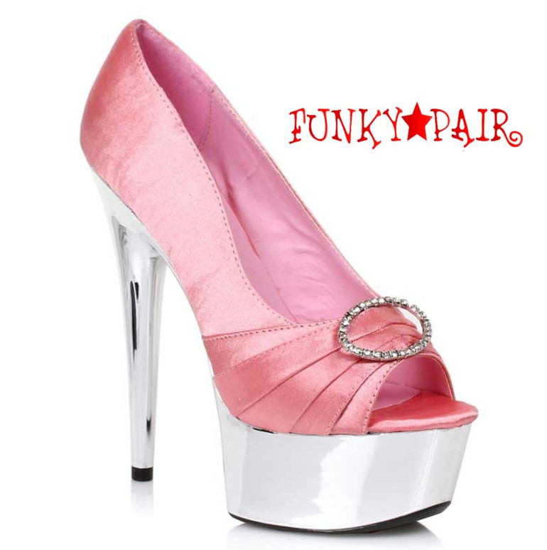 """Pink 609-Lauren 6"""" Satin Peep Toe Pump Ellie Shoes"""