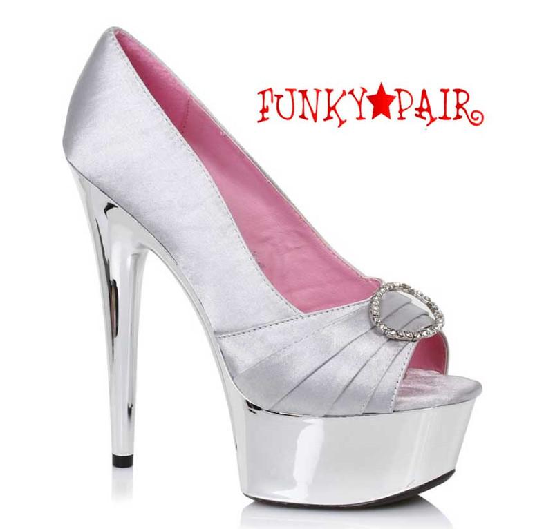 """Silver 609-Lauren 6"""" Satin Peep Toe Pump Ellie Shoes"""